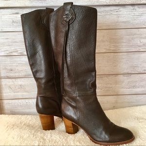 COACH Selena Chocolate Brown Leather Healed Boots